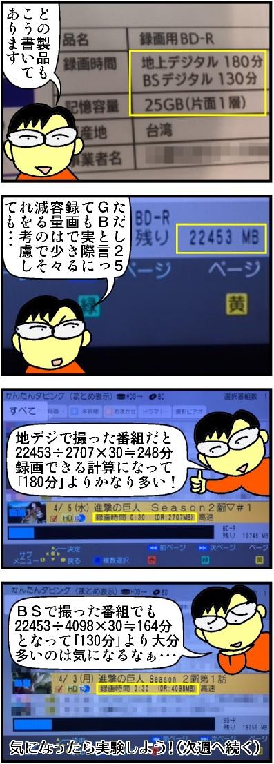 ブルーレイディスクに何時間分ダビングできるか(1)